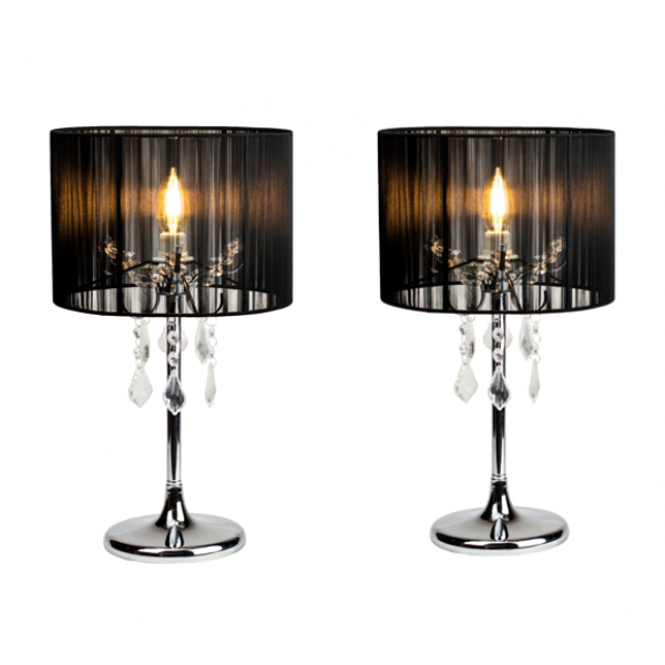 2 Pieces Paris Crystal Table Lamp Set With Black String