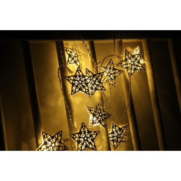 10 Warm White Led Fairy Light With Silver Star Decoration